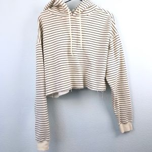 Urban Outfitters Striped Cropped Hoodie Sweatshirt